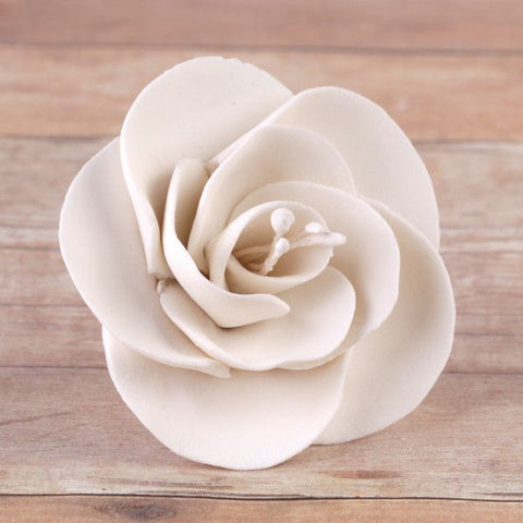 White Gumpaste Dog Rose Cake Decoration perfect for cake decorating rolled fondant wedding cakes, buttercream birthday cakes, & cupcakes.  Wholesale cake decorations & cake decorating supply.