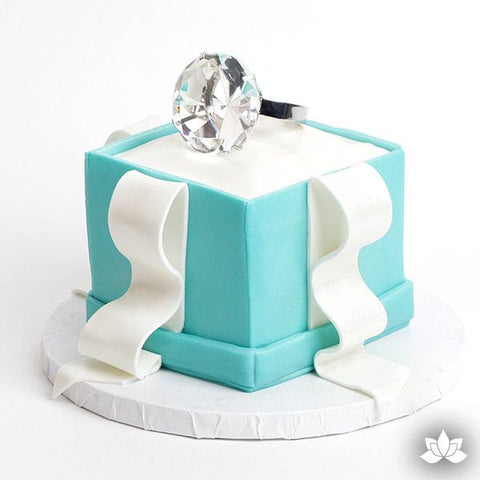 Small Diamond Ring Cake Topper perfect for wedding and engagement cakes.