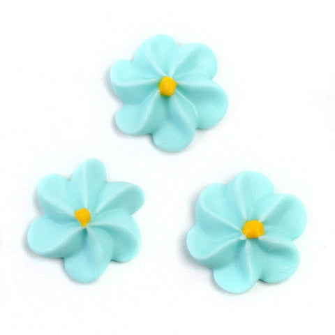 Large Royal Icing Drop Flowers - Blue