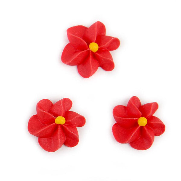 Large Royal Icing Drop Flowers - Red