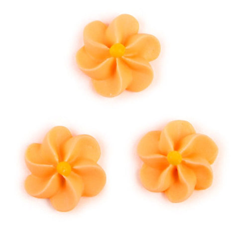 Large Royal Icing Drop Flowers - Orange