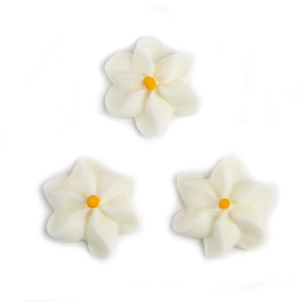 Large Royal Icing Drop Flowers - White