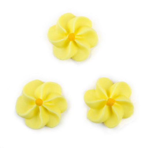Large Royal Icing Drop Flowers - Yellow