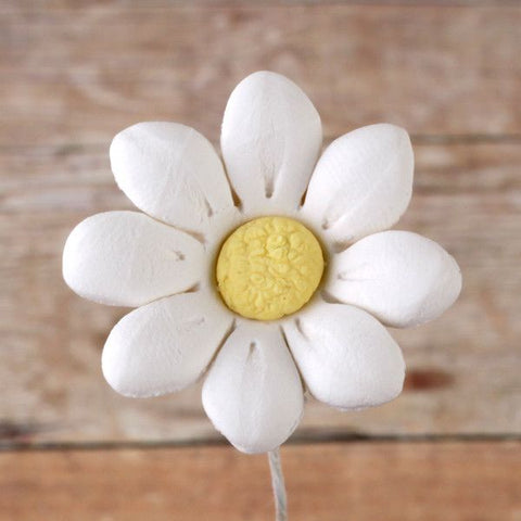 Small Single Petal Daisies gumpaste sugarflower cake decorations perfect for cake decorating fondant cakes.  Wholesale cake supply.