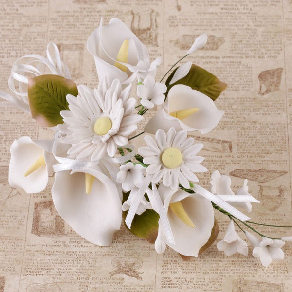 White Daisy & Calla Lily Spray Sugar Flower cake topper perfect for cake decorating fondant cakes, wedding cakes, and cupcakes.  Wholesale cake decorations supply. Caljava