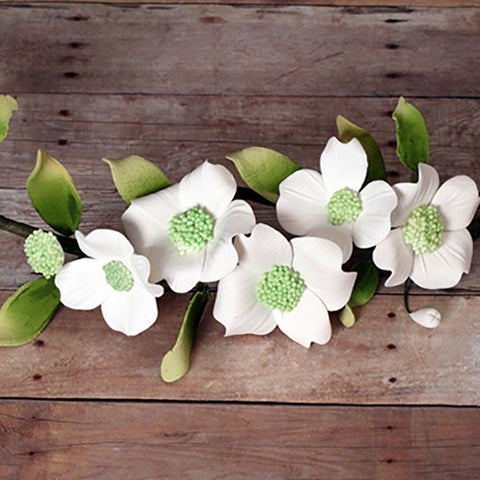 White Dogwood Gumpaste Sugarflower cake decoration perfect as cake toppers & cupcake toppers for cake decorating fondant cakes.  Wholesale cake decoration supply.