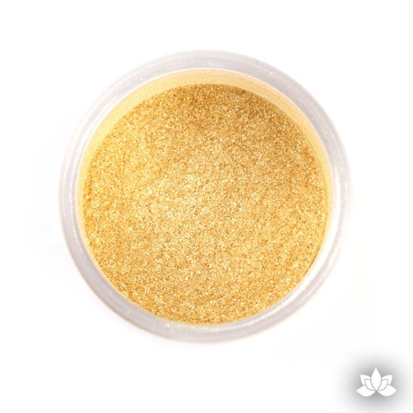 Dazzling Gold Luster Dust colors for cake decorating fondant cakes, gumpaste sugarflowers, cake toppers, & other cake decorations. Wholesale cake supply. Bakery Supply. Lustre Dust Color.