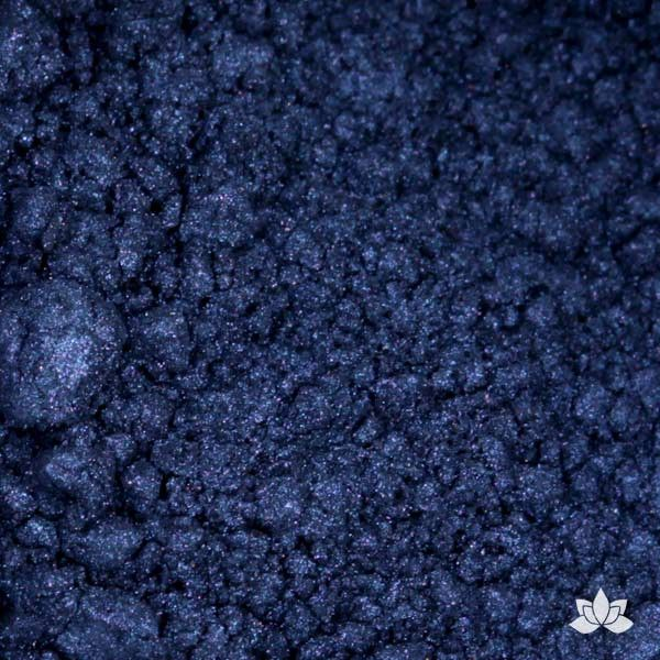 Midnight Blue Luster Dust colors for cake decorating fondant cakes, gumpaste sugarflowers, cake toppers, & other cake decorations. Wholesale cake supply. Bakery Supply. Deep Blue Lustre Dust Color.