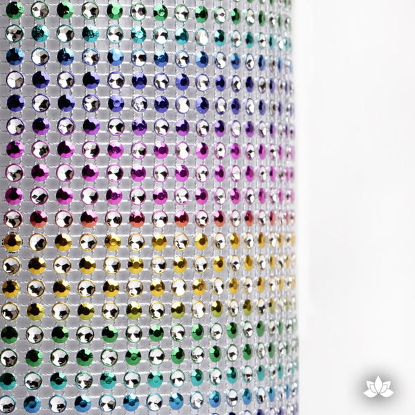 Add bling to your cake with Glam Ribbon Diamond Cake Wraps. Perfect for cake decorating rolled fondant cakes & wedding cakes. Cake decoration. Diamond Mesh. Rainbow Polka Dot Glam Ribbon Cake Wrap - 1 yard