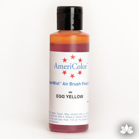 Egg Yellow AmeriMist Air Brush Color 4.5 oz is a highly concentrated air brush color perfect for coloring non-dairy whipped icing, toppings, rolled fondant, gum paste flowers, and buttercream. Wholesale edible air brush color.