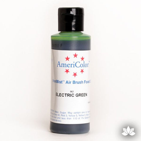 Electric Green AmeriMist Air Brush Color 4.5 oz is a highly concentrated air brush color perfect for coloring non-dairy whipped icing, toppings, rolled fondant, gum paste flowers, and buttercream. Wholesale edible air brush color.