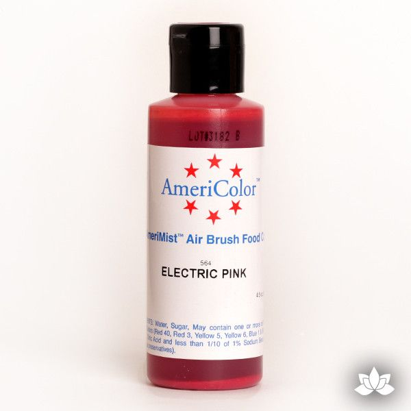 Electric Pink AmeriMist Air Brush Color 4.5 oz is a highly concentrated air brush color perfect for coloring non-dairy whipped icing, toppings, rolled fondant, gum paste flowers, and buttercream. Wholesale edible air brush color.