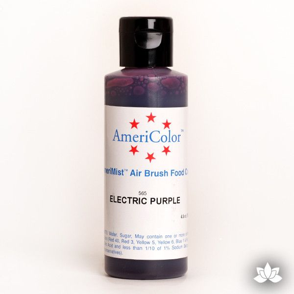 Electric Purple AmeriMist Air Brush Color 4.5 oz is a highly concentrated air brush color perfect for coloring non-dairy whipped icing, toppings, rolled fondant, gum paste flowers, and buttercream. Wholesale edible air brush color.