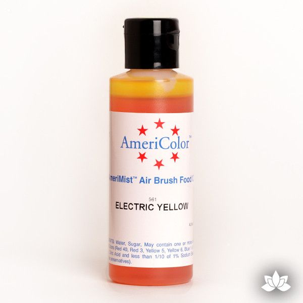 Electric Yellow AmeriMist Air Brush Color 4.5 oz is a highly concentrated air brush color perfect for coloring non-dairy whipped icing, toppings, rolled fondant, gum paste flowers, and buttercream. Wholesale edible air brush color.