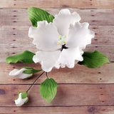 White Hibiscus Spray Gumpaste Sugarflower cake decorations perfect as cake toppers on fondant cakes & cupcakes.  Wholesale cake supply.