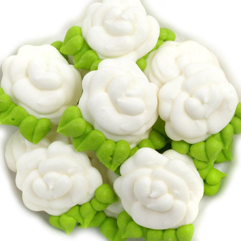 Flat Rose Royal Icing Decorations - White