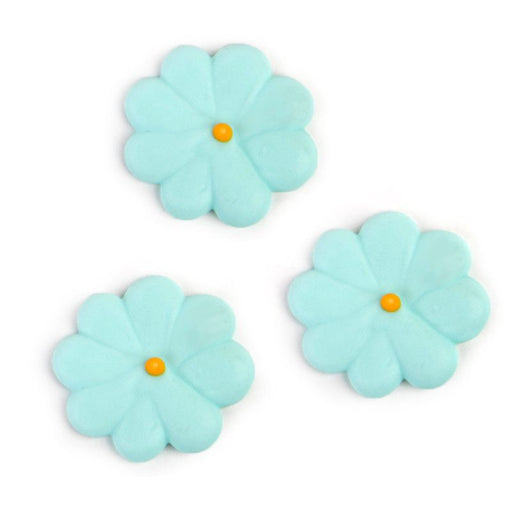 Medium Flower Power Royal Icing Decorations - Blue