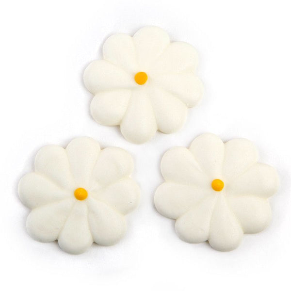 Medium Flower Power Royal Icing Decorations - White