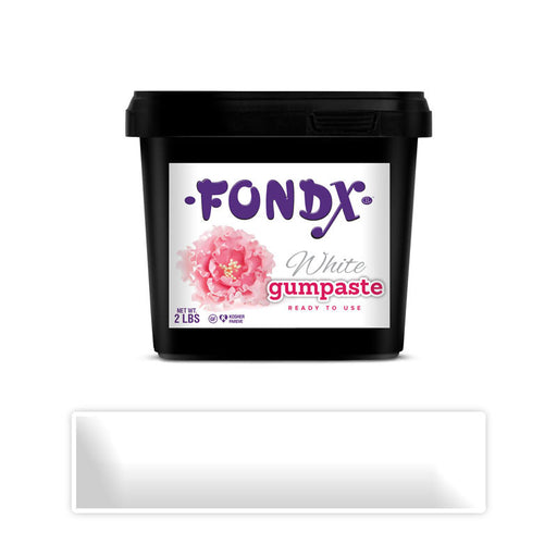 White Gum Paste for making sugar flowers or edible figures as cake decorations for cake decorating your own cake.  White Vanilla FondX Gum Paste (Sugar paste).