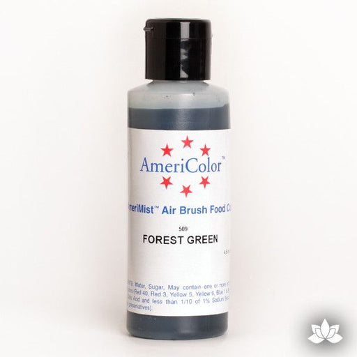 Forest Green AmeriMist Air Brush Color 4.5 oz is a highly concentrated air brush color perfect for coloring non-dairy whipped icing, toppings, rolled fondant, gum paste flowers, and buttercream. Wholesale edible air brush color.