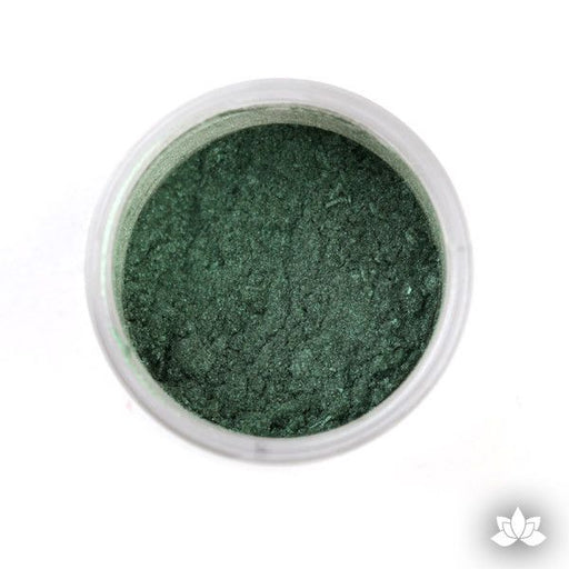Fern Green Luster Dust colors for cake decorating fondant cakes, gumpaste sugarflowers, cake toppers, & other cake decorations. Wholesale cake supply. Bakery Supply. Lustre Dust Color.
