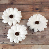 White Gumpaste Daisy cake decorations perfect for cake decorating rolled fondant wedding cakes and rolled fondant birthday cakes and cupcakes.  Wholesale sugarflowers & cake decorating products. Caljava