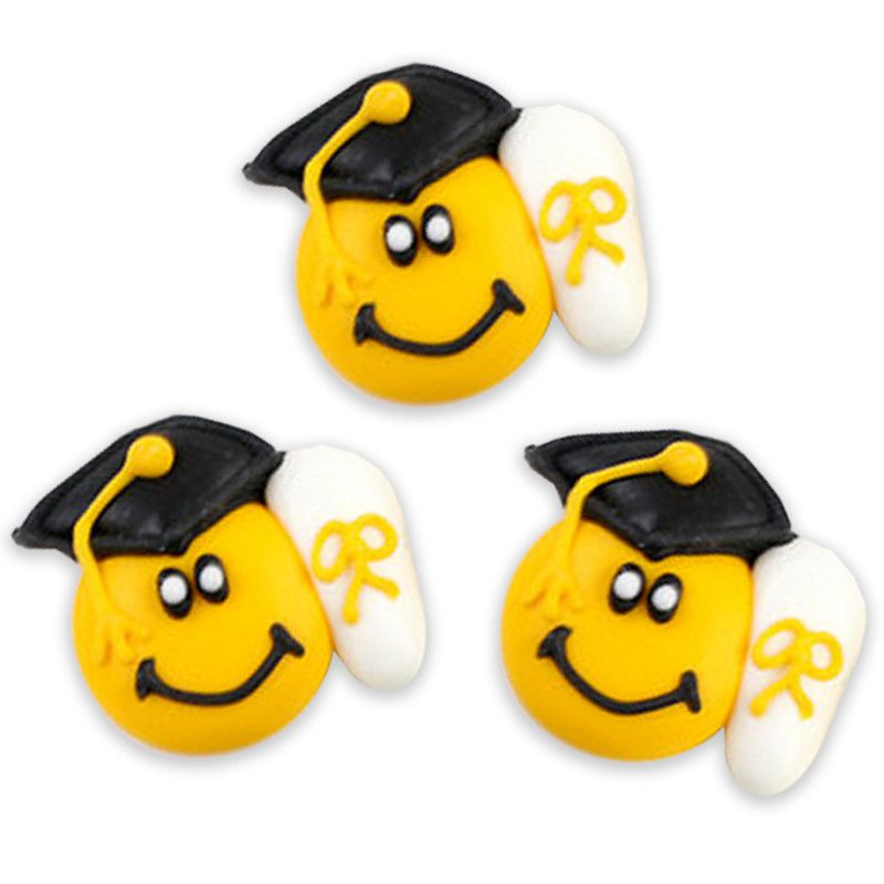 Graduation Smiley Royal Icing Decorations - Black