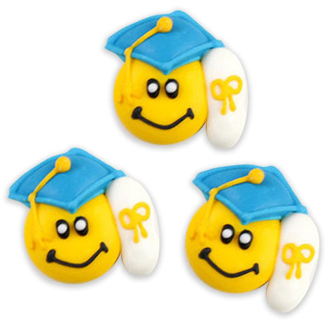 Graduation Smiley Royal Icing Decorations - Blue