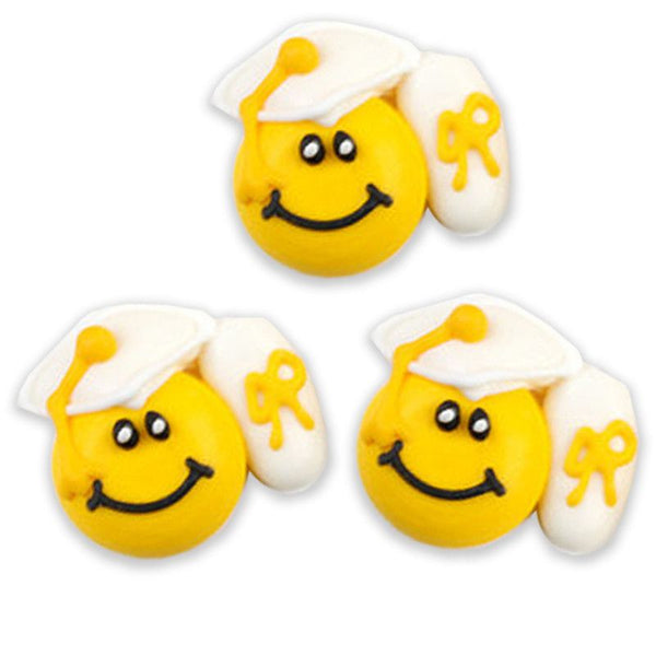 Graduation Smiley Royal Icing Decorations - White (Tub)