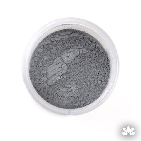 Greystone Luster Dust colors for cake decorating fondant cakes, gumpaste sugarflowers, cake toppers, & other cake decorations. Wholesale cake supply. Bakery Supply.  Grey Lustre Dust Color.