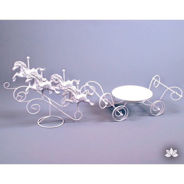 Ivory Gold 4 Horses and Carriage Cake Stand