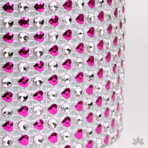Add bling to your cake with Glam Ribbon Diamond Cake Wraps. Perfect for cake decorating rolled fondant cakes & wedding cakes. Cake decoration. Diamond Mesh. Hot Pink Heart Glam Ribbon - Cake Wrap
