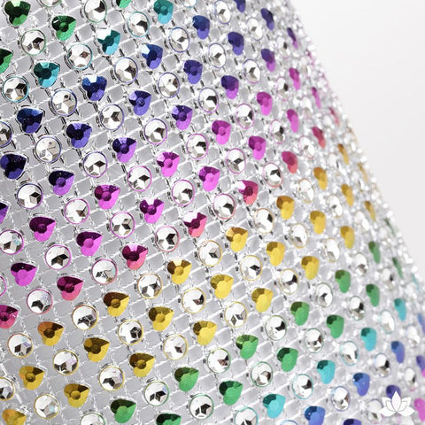 Add bling to your cake with Glam Ribbon Diamond Cake Wraps. Perfect for cake decorating rolled fondant cakes & wedding cakes. Cake decoration. Diamond Mesh. Rainbow Heart Glam Ribbon - Cake Wrap