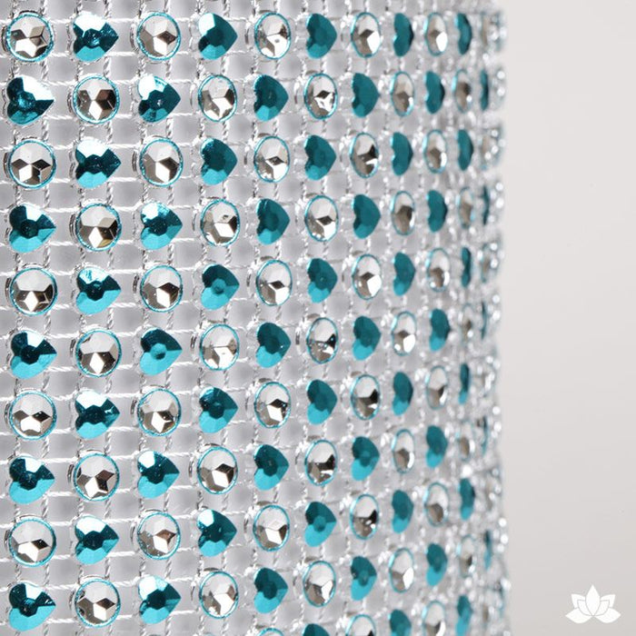Add bling to your cake with Glam Ribbon Diamond Cake Wraps. Perfect for cake decorating rolled fondant cakes & wedding cakes. Cake decoration. Diamond Mesh. Teal Heart Glam Ribbon - Cake Wrap