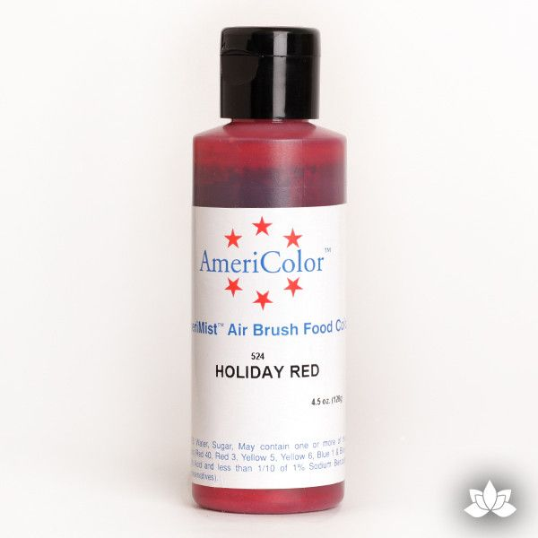 Holiday Red AmeriMist Air Brush Color 4.5 oz is a highly concentrated air brush color perfect for coloring non-dairy whipped icing, toppings, rolled fondant, gum paste flowers, and buttercream. Wholesale edible air brush color.