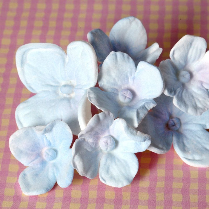 Blue Hydrangeas sugarflowers gumpaste cake decorations perfect for cake decorating fondant cakes as a cake topper.  Wholesale bakery supplies.