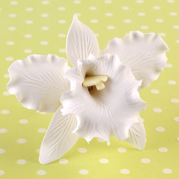 Edible Gumpaste Large White Cattleya sugar flower cake toppers and cake decorations perfect for cake decorating rolled fondant wedding cakes, cupcakes and birthday cakes and cupcakes.  Edible Cake Decoration and wholesale cake supplies.  |  CaljavaOnline.com