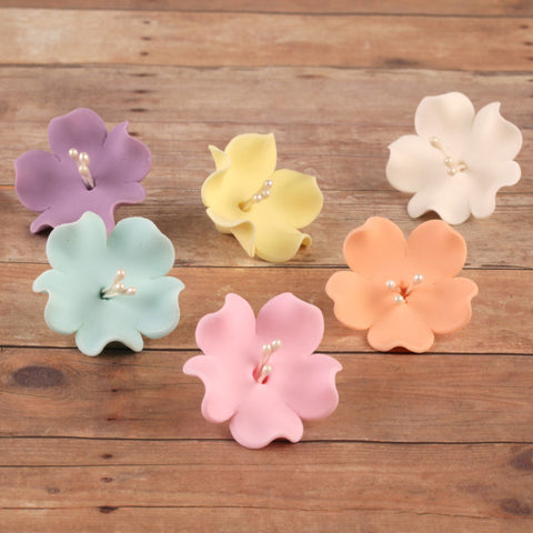 Mixed Colors of Gumpaste Fruit Blossoms cake toppers and cupcake toppers perfect for cake decorating rolled fondant cakes.