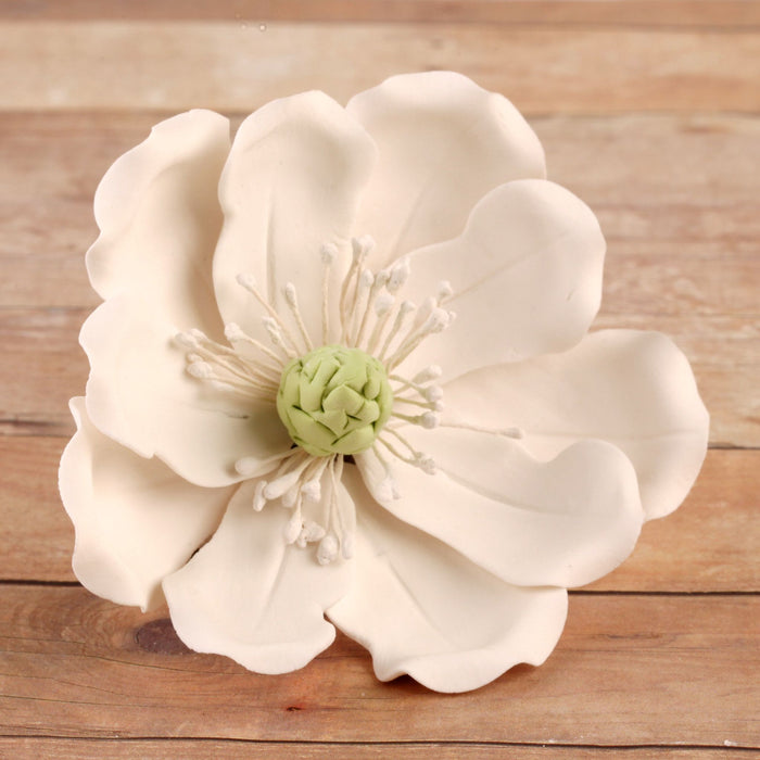 Edible Full Bloomed White Magnolia sugar flower cake decorations perfect for wedding cakes decorating rolled fondant cupcakes and birthday cakes and cupcakes.  Edible Cake Decoration and wholesale cake supplies.
