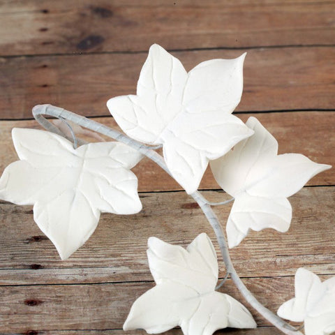 White Ivy Leaf Filler sugarflower from gumpaste perfect for cake decorating fondant cakes and wedding cakes. Wholesale sugarflowers and cake supply.