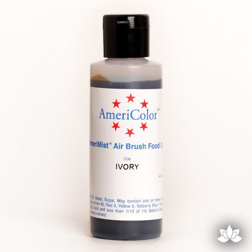 Ivory AmeriMist Air Brush Color 4.5 oz is a highly concentrated air brush color perfect for coloring non-dairy whipped icing, toppings, rolled fondant, gum paste flowers, and buttercream. Wholesale edible air brush color.
