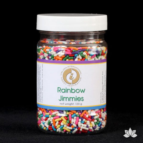 Decorate your cupcakes & cakes with Confetti Sprinkles. Edible sprinkle cupcake decorations that complete edible cake creation for any cake decorator. Rainbow Jimmies. Wholesale cake supply. Caljava