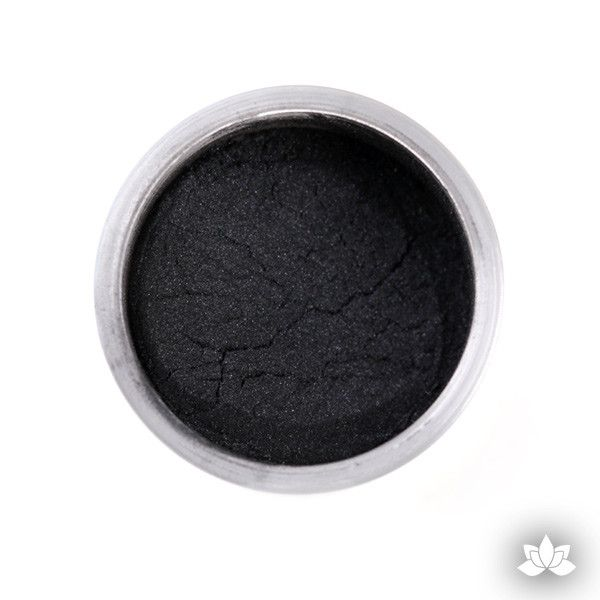 Jet Black Luster Dust colors for cake decorating fondant cakes, gumpaste sugarflowers, cake toppers, & other cake decorations. Wholesale cake supply. Bakery Supply. Lustre Dust Color.