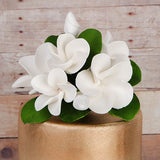 White Gumpaste Plumeria Cake Topper Spray handmade gumpaste cake decoration.