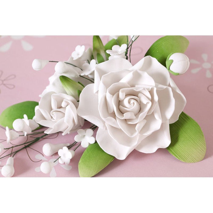 Gumpaste Gardenia Sugarflower spray cake topper perfect for cake decorating wedding cakes and fondant cakes.