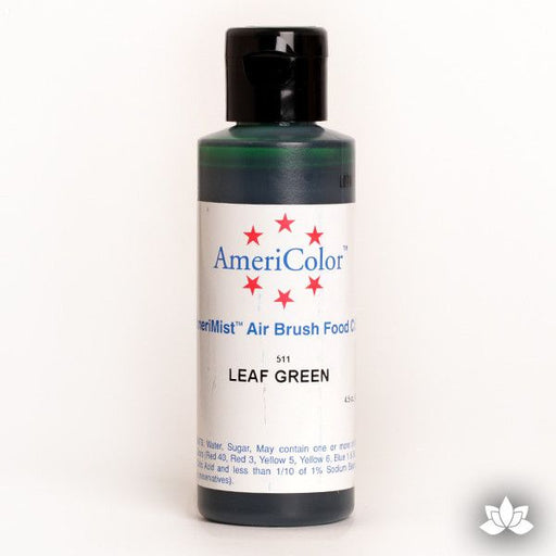 Leaf Green AmeriMist Air Brush Color 4.5 oz is a highly concentrated air brush color perfect for coloring non-dairy whipped icing, toppings, rolled fondant, gum paste flowers, and buttercream. Wholesale edible air brush color.