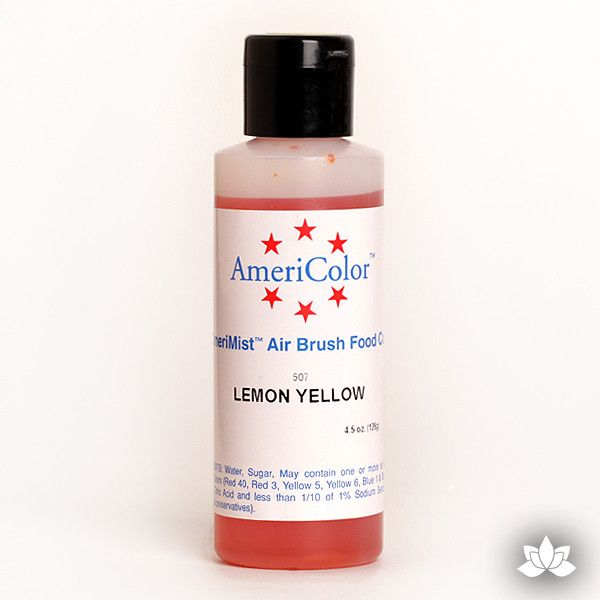 Lemon Yellow AmeriMist Air Brush Color 4.5 oz is a highly concentrated air brush color perfect for coloring non-dairy whipped icing, toppings, rolled fondant, gum paste flowers, and buttercream. Wholesale edible air brush color.