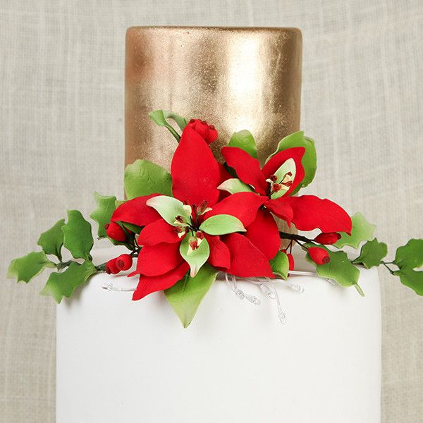 Lighted Poinsettia & Holly Berry Spray cake toppers are perfect for cake decorating fondant christmas cakes and treats.  Edible poinsettia cake decorations.  Wholesale cake supply.  Lighted Poinsettia & Berry Sprays - Red