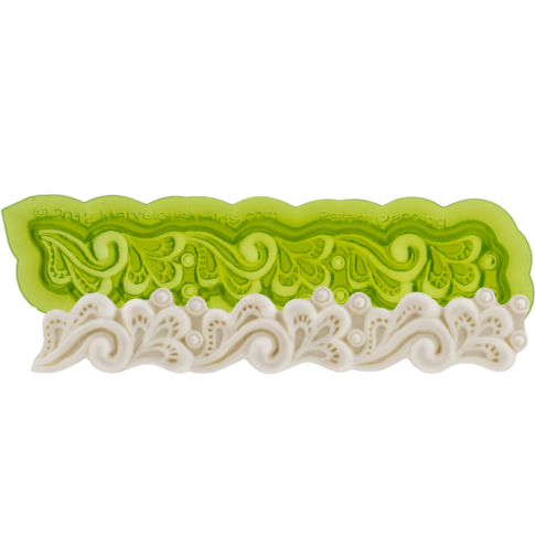Fondant Lace Border Mold great for creating your own fondant cake border with elegant lace texture. Cake decorating tool perfect for making wedding cakes and birthday cakes. Marvelous Molds.