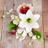 Day Lily & Phalaenopsis Orchids are gumpaste sugarflower cake decorations perfect as cake toppers for cake decorating fondant cakes and wedding cakes. Caljava wholesale cake supply.